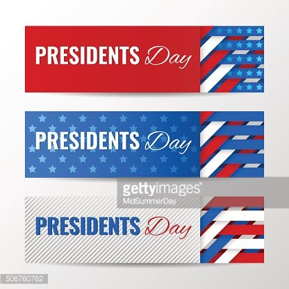 Set of horizontal banners, page headers for Presidents Day.