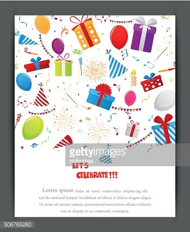 Birthday celebration banner with party elements