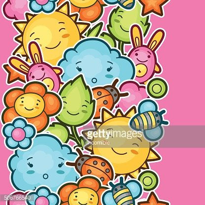 Seamless kawaii child pattern with cute doodles. Spring collection of