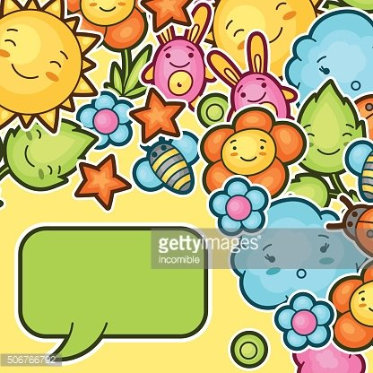 Cute child background with kawaii doodles. Spring collection of cheerful