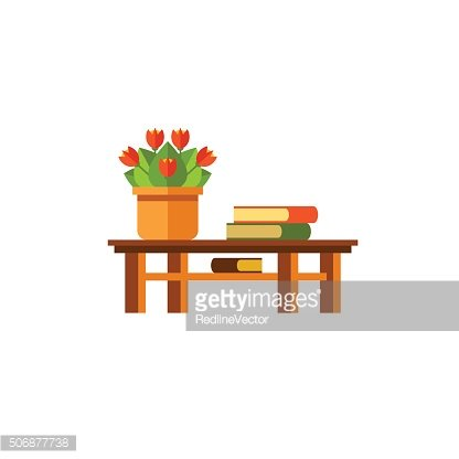 Table, flower and books