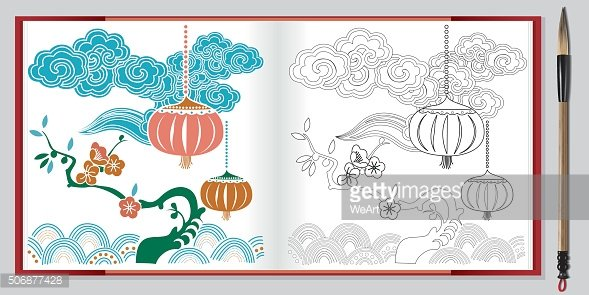 Vector of chinese lantern and flower on book.