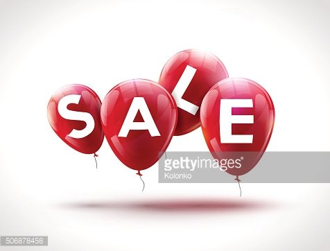 Flying balloons, concept of SALE for shops, stores, markets