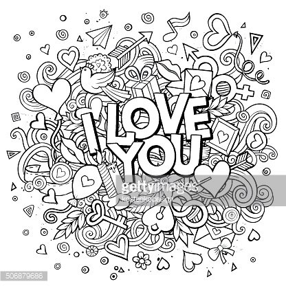 Cartoon vector hand drawn Doodle I Love You illustration