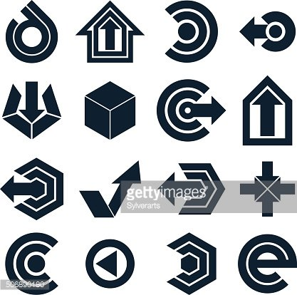 Geometric abstract vector shapes. Collection of black arrows, mo