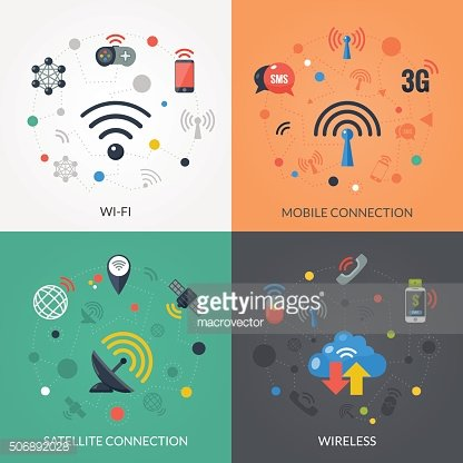 Wireless Technology 4 Flat Icons Square