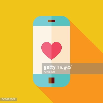 Vector Flat Design Smartphone with Love Heart Sign Icon