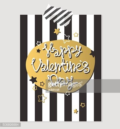 Happy Valentines Day gold and black greeting card vector illustration