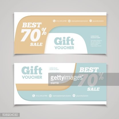 Two coupon voucher design. Gift voucher template with amount of