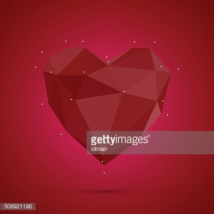 Polygonal heart. Low poly, valentines day Vector