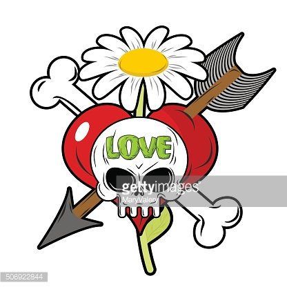 Death and love. Skull and red heart. Sign for tattoos.