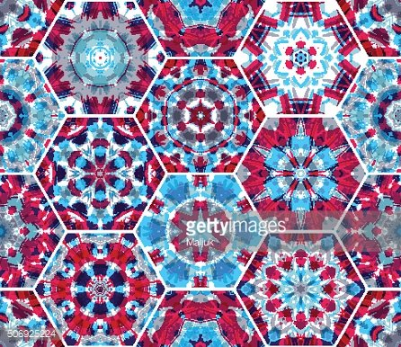 Seamless pink and blue textile pattern.