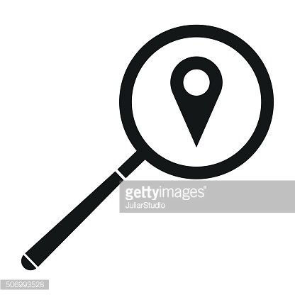 Magnifying glass with a map mark