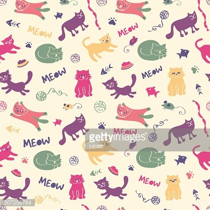 Cat seamless pattern in vintage colors