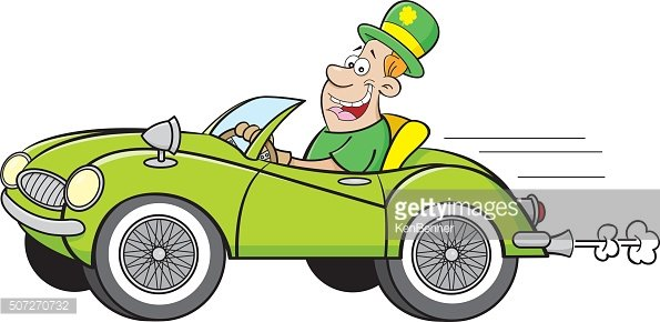 Cartoon man wearing a derby and driving a car.