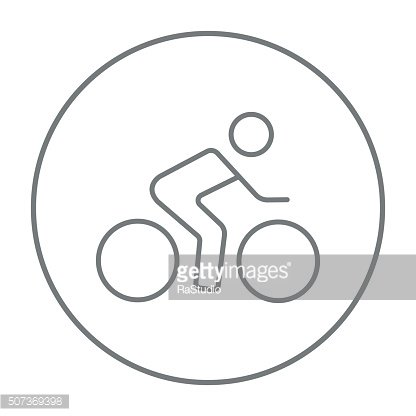 Man riding a bike line icon