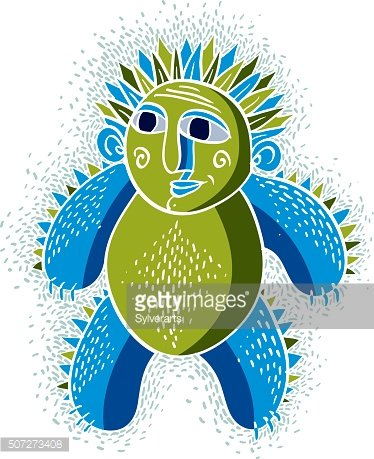Character monster vector flat illustration, cute green mutant.