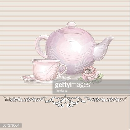 kettler and tea cup background. Teatime card