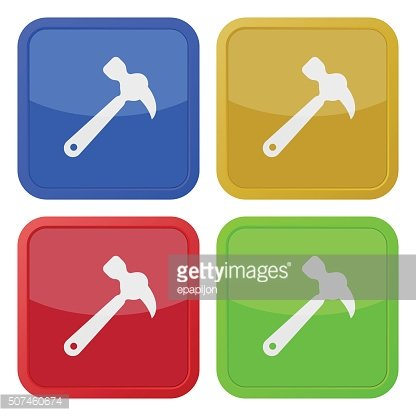 set of four square icons with claw hammer