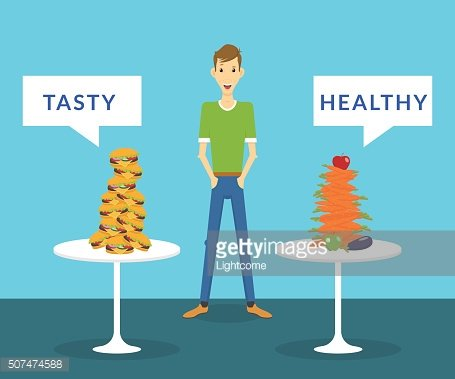Thin man standing between tasty burgers and healthy carrots choosing