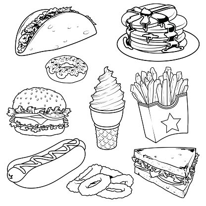 Set Of Cartoon Fast Food Icons On White Premium Clipart
