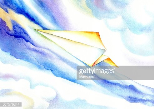 Paper plane soaring in the blue sky.