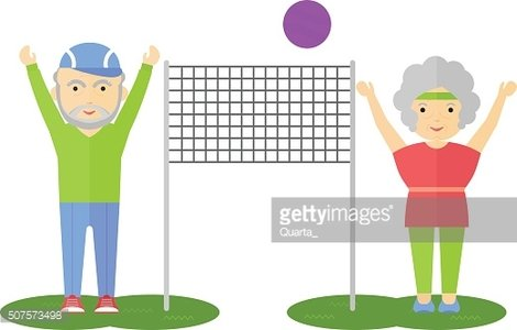elderly couple playing volleyball