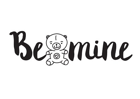 Be mine. Greeting card with modern calligraphy and hand drawn
