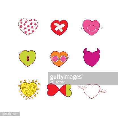 Vector hearts emotions and quotes