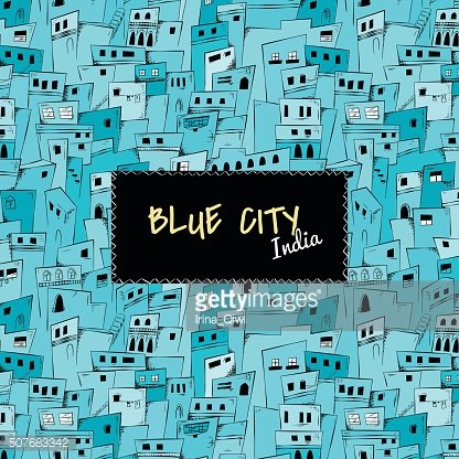 Seamless pattern of blue city. India