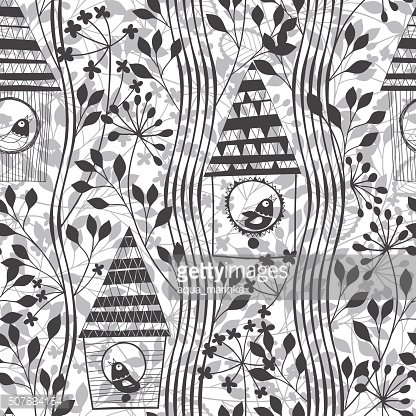 Monochrome seamless pattern with birds, birdhouses and flowering trees.
