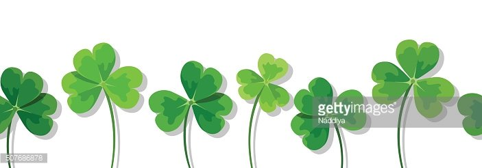 St. Patrick's day horizontal seamless background with clovers (shamrock). Vector.
