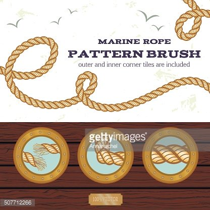 Marine rope style vector pattern brush
