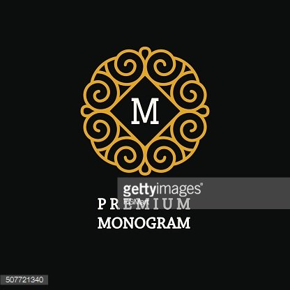 Elegant Line Art Logo and Monogram Design, vector template.