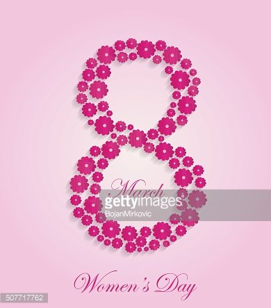 Abstract Floral 8 March Women's Day Card with pink background