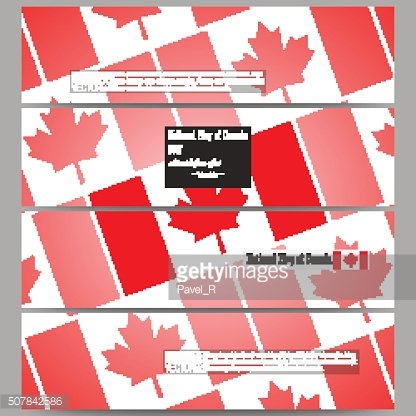 Modern banners. National Flag of Canada Day. Abstract dotted vector