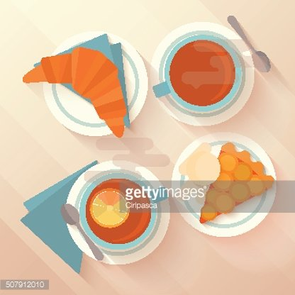 Breakfast for two with tea, apricot pie and croissant.