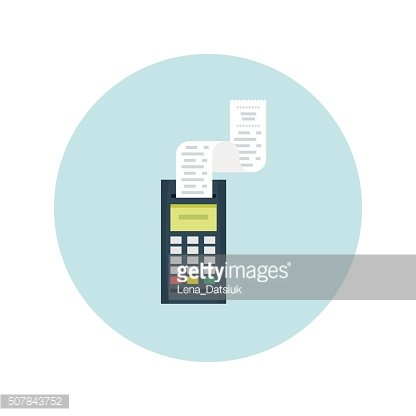 POS terminal with printed check. Modern flat design element. EPS10
