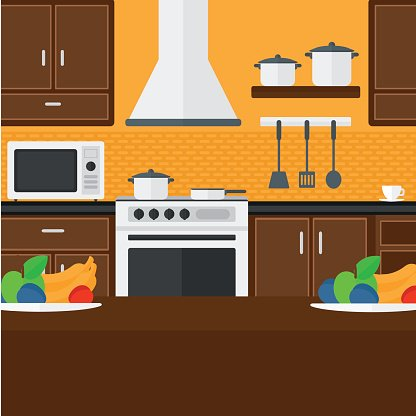 Background Of Kitchen With Appliances Clipart Image
