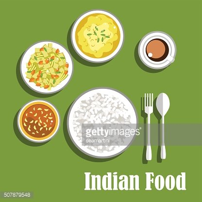Vegetarian indian curry, chutney and rice