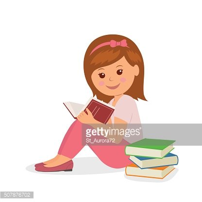Cute girl in pink is sitting and reading a book.