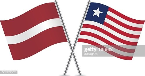 Latvian and Liberian flags. Vector.