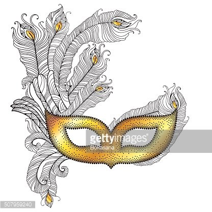 Gold Venetian carnival mask with peacock feathers isolated on white.