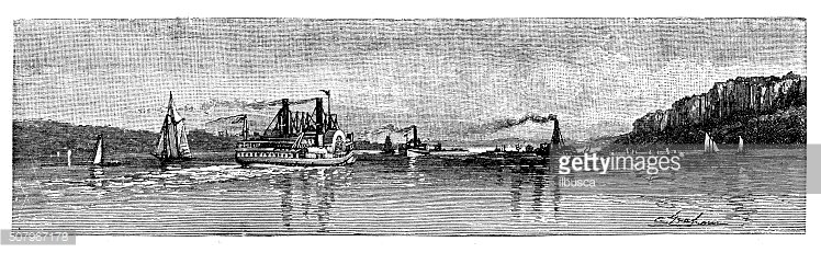 Antique illustration of approach to New York by the Hudson