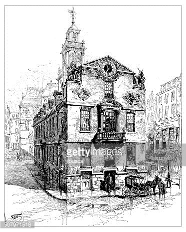 Antique illustration of the old State House, Boston