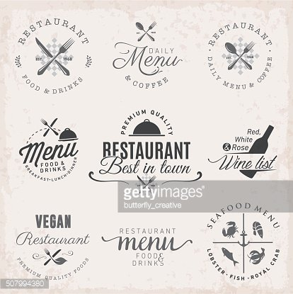 Restaurant Badges and Labels in Vintage Style