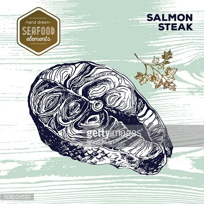 Hand drawn sketch seafood of salmon steak. Vintage style