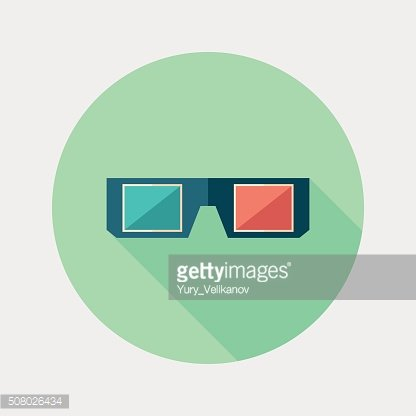 3D glasses flat round icon with long shadows.
