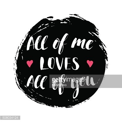 Modern calligrahpy Valentines Day love quote with round ink spot