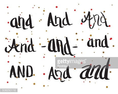 Calligraphy Greeting Card with Set of Prepositions And.